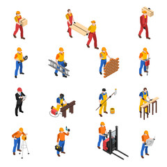 Builders Construction Workers Isometric Icons Collection