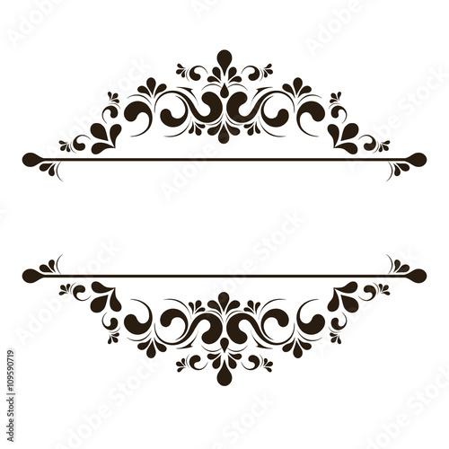 Elegant frame banner, floral elements. Vector illustration.\