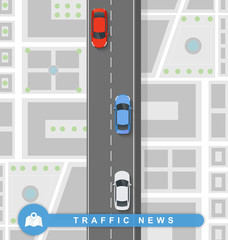 Paved path on the road in flat style. Traffic news