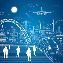 Trains moves, railway station, people waiting for the train, industrial and transport panoramic, city infrastructure on background, vector design art