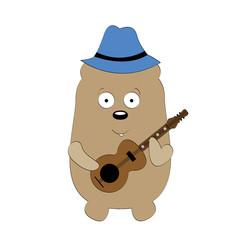 Bear playing guitar vector illustration