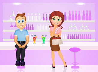man and woman in the bar