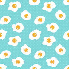 Seamless pattern with scrambled eggs with polka dots background