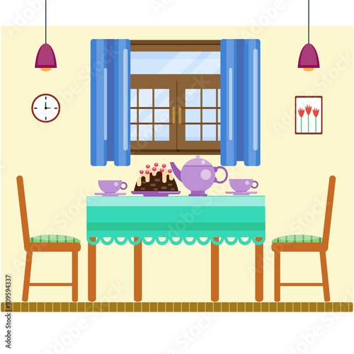 Dining Room Interior With Utensils And Furniture Table Two Chairs Sweets