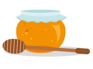 Honigglas Mit Honigstab Vektor Freigestellt