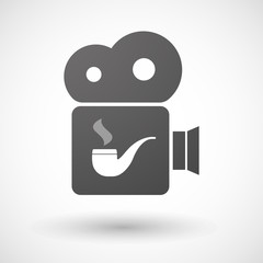 Isolated cinema camera icon with a smoking pipe