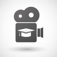 Isolated cinema camera icon with a graduation cap