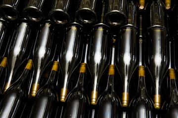 Wine bottles in factory