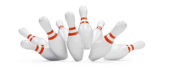 bowling strike 3D rendering, on a white background