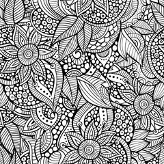 Sketchy doodles decorative floral ornamental seamless pattern
