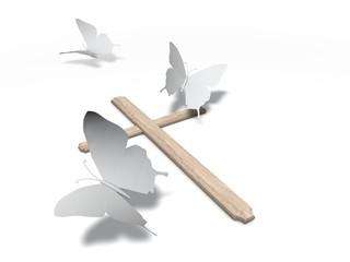 Papieren vlinders bij houten kruis