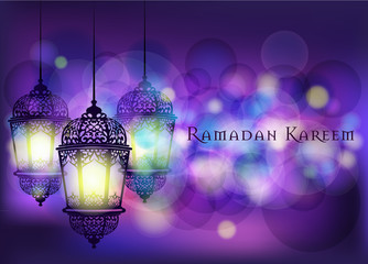 Ramadan Kareem greeting on blurred background with beautiful illuminated arabic lamp Vector illustration.