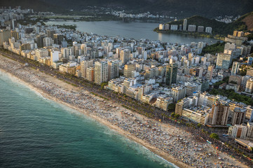Crowded Beach in Rio de Janeiro at sunset