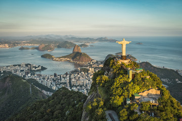 Canvas Prints Brazil Aerial view of Christ and Botafogo Bay from high angle.