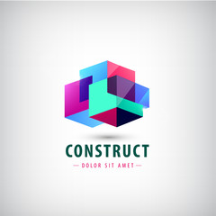 Vector abstract geometric red logo, icon. Construction, building, architecture