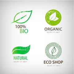Vector set of eco logos, leaves, organic