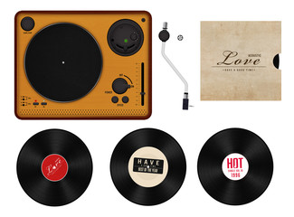 record player set isolated [clipping path]