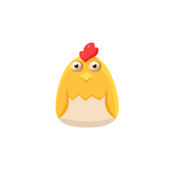 Chick In Eggshell Simplified Cute Illustration