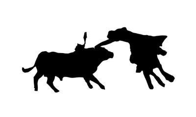 Black silhouette of bullfighting on white background.