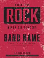Obraz old poster , rock concert template vector - fototapety do salonu