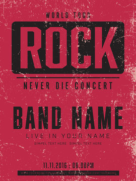 old poster , rock concert template vector