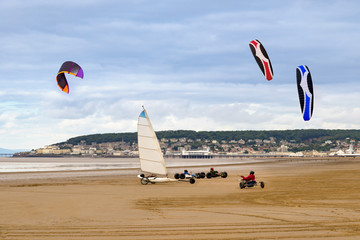 Land yachts and kite buggies on Weston-Super-Mare beach