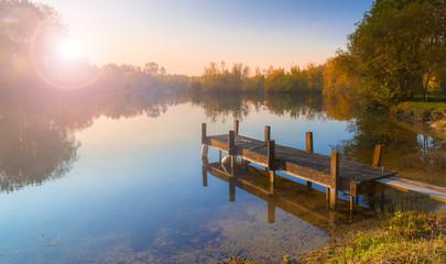 Printed kitchen splashbacks Lake Single jetty on a calm lake