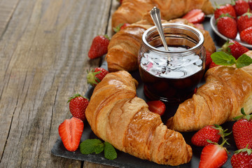 French croissants and strawberry