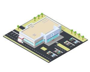 Isometric vector illustration of a modern hospital icon. Health service building - medicine and treatment concept.