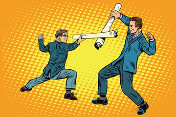 Businessmen fencing competition ideas