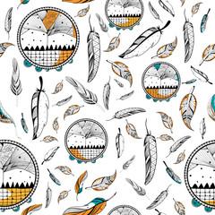 Dream Catcher in Tribal boho style seamless pattern