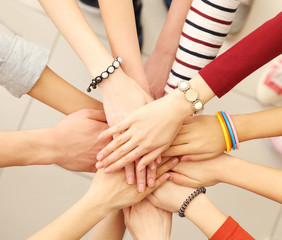Group of people hands together
