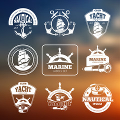 Marine, nautical vector labels on blurred background