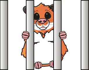 hamster, pet, comic, cartoon, isolated, animal, rodent, cage, bars, grill, sit, stay, closed