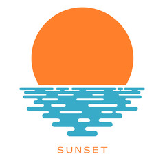 Sunset on a white background. sunset sun, icon, isolate. Flat su