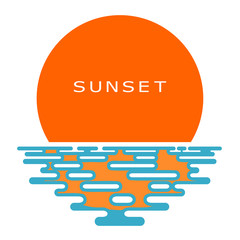Sunset on a white background. Colored Sunset, icon, isolate. Fla