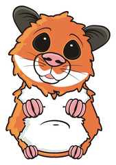 hamster, pet, comic, cartoon, isolated, animal, rodent, standing, waiting, flirt, look