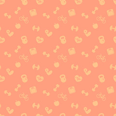 seamless pattern with fitness icons, orange seamless fitness background, vector illustration