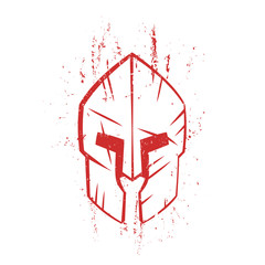spartan helmet with scratches, front view, red on white, vector illustration