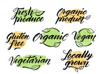 Hand drawn healthy food letterings. Label, logo template