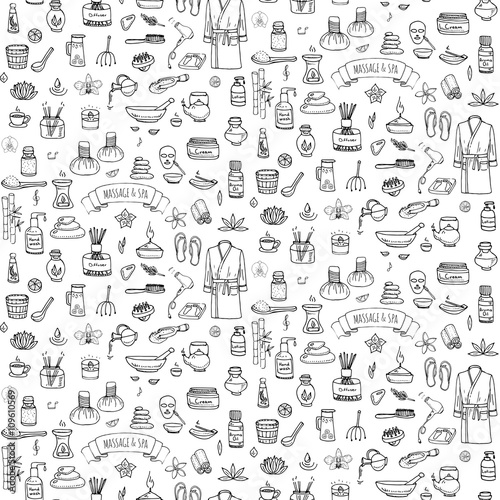 Seamless Background Hand Drawn Doodle Massage And Spa Icons Set