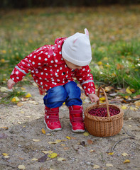 ittle cute girl with cranberries basket