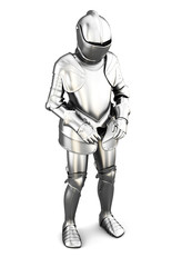 Figure of a knight in armor isolated on white background. Metal armor. Medieval armor. 3d render image