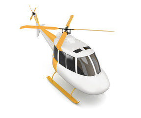 Plastic toy helicopter isolated on white background. Top view. 3d rendering.