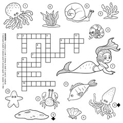 Vector colorless crossword about sea life