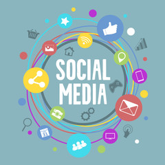 Social media vector concept with circle colorful icons.