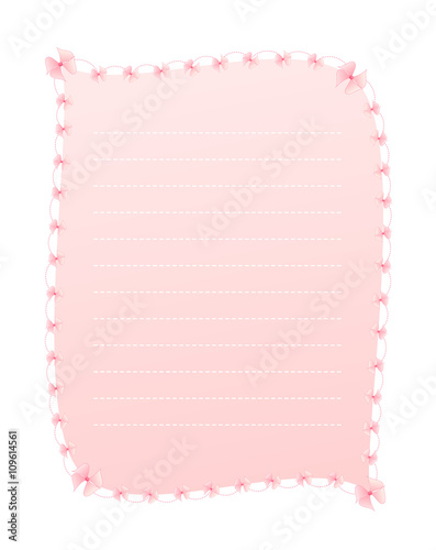 Blank Gradient Sweet Pink Vertical Lined Letter Paper Decorated With Pink  Ribbons And Dashed Line Border  Lined Letter Paper