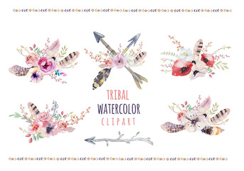 Watercolor colorful ethnic set of arrows  and flowers in native