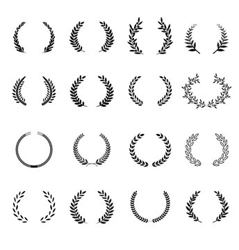 Laurel wreaths vector elements. It can be used in the design for websites, infographic, catalogs, brochures, magazines, etc.