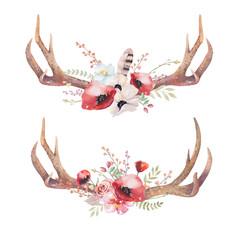 Watercolor bohemian deer horns. Western mammals. Watercolour hip